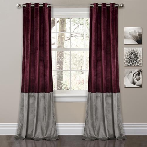 Prima Velvet Color Block Plum and Gray 84 x 38 In. Room Darkening Curtain Panel Set