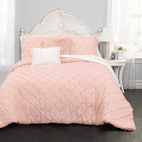 Lush Decor Ravello Pintuck Pink Twin Four-Piece Comforter Set