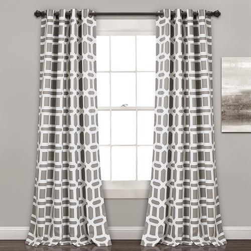 Sequoia Geo Gray 84 x 52 In. Room Darkening Curtain Panel Set