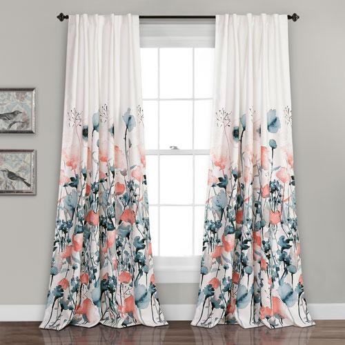 Zuri Flora Room Darkening Blue and Coral 84 x 52 In. Window Curtain Set