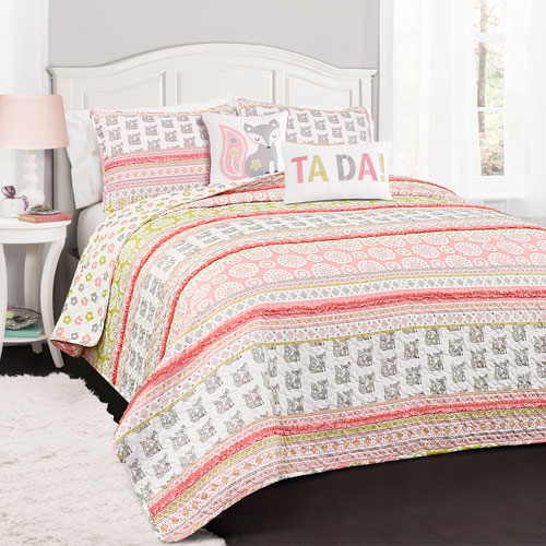 Lush Decor Fox Ruffle Pink and Gray Stripe Twin Four-Piece Quilt Set