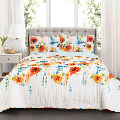 Percy Bloom Tangerine and Blue Three-Piece Full/Queen Quilt Set