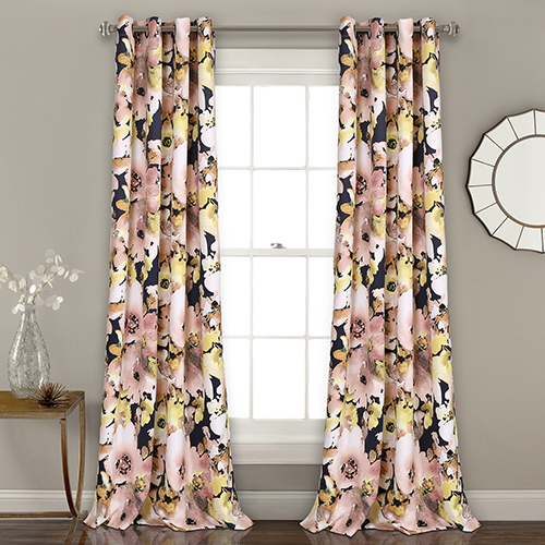 Floral Watercolor Pink and Navy 84 x 52 In. Room Darkening Curtain Panel Set