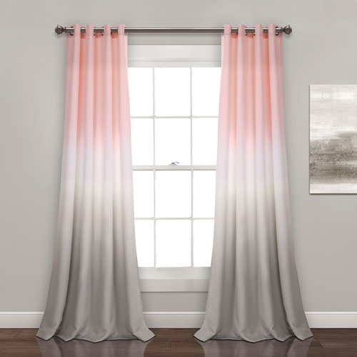 Umbre Fiesta Blush and Gray 84 x 52 In. Room Darkening Window Curtain Panel Set