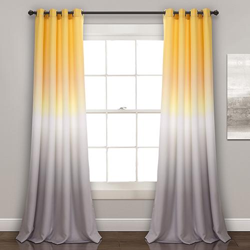 Umbre Fiesta Yellow and Gray 84 x 52 In. Room Darkening Curtain Panel Set