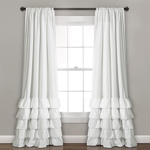Allison Ruffle White 84 x 40 In. Curtain Panel Set