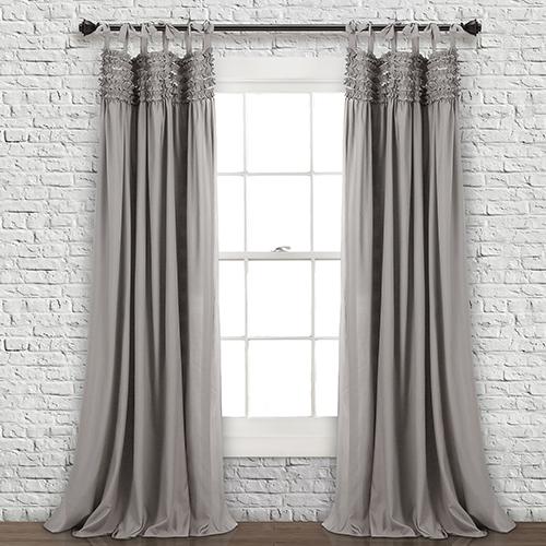 Lydia Ruffle Gray 84 x 40 In. Curtain Panel Set