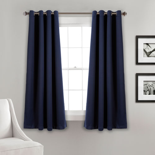 Navy 63 x 52 In. Insulated Grommet Blackout Curtain Panel Set