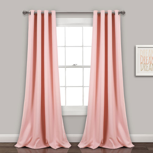 Pink 84 x 52 In. Insulated Grommet Blackout Curtain Panel Set