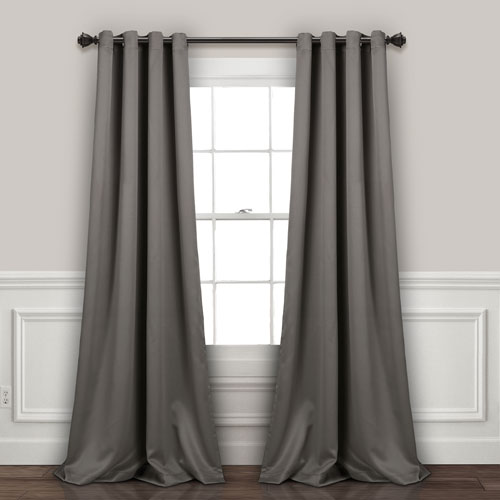 Lush Decor Gray 84 x 52 In. Insulated Grommet Blackout Curtain Panel Set