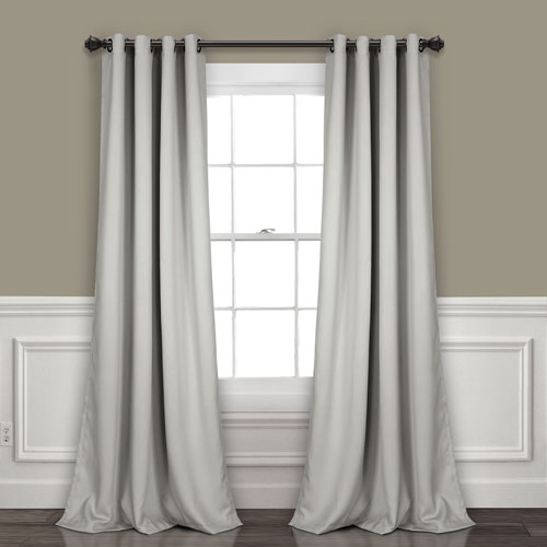 Light Gray 84 x 52 In. Insulated Grommet Blackout Curtain Panel Set