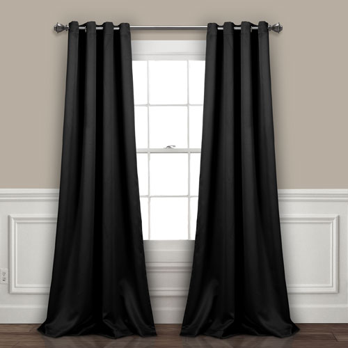 Black 84 x 52 In. Insulated Grommet Blackout Curtain Panel Set