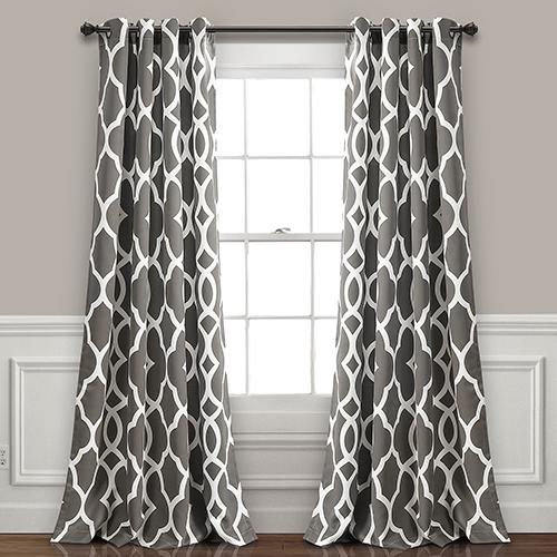 Connor Geo Gray 84 x 52 In. Room Darkening Curtain Panel Set