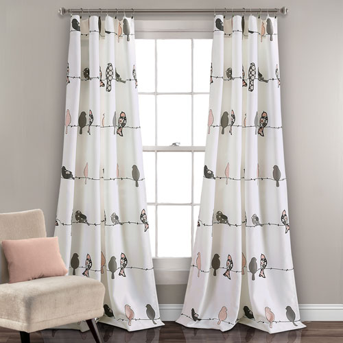 Rowley Birds Blush and Gray 84 x 52 In. Room Darkening Window Curtain Panel Set