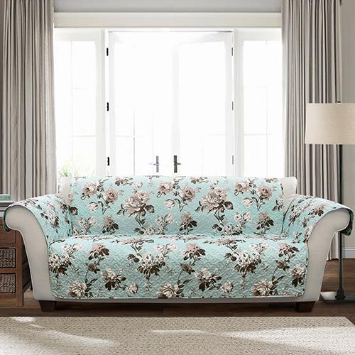 Lush Decor Tania Floral Blue and Gray Single Sofa Furniture Protector