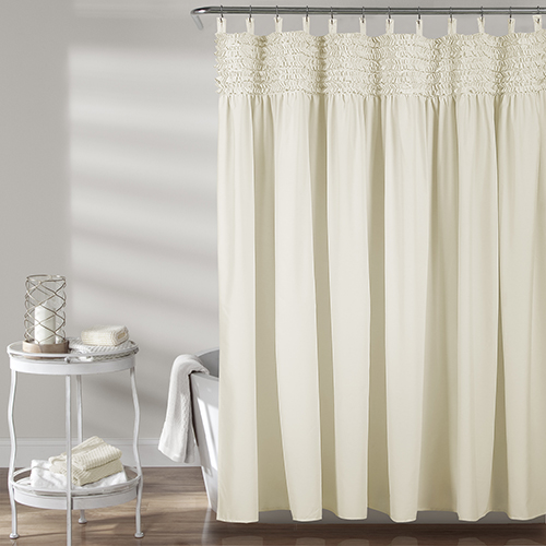 Lydia Ruffle Ivory 72 In. Shower Curtain