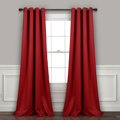 Lush Decor Red 95 x 52 In. Insulated Grommet Blackout Curtain Panel Set