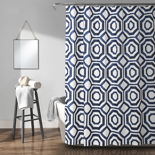 Octagon Blocks Navy 72 In. Shower Curtain