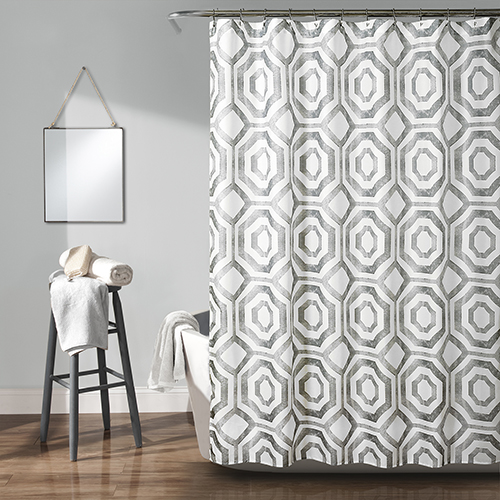 Octagon Blocks Gray 72 In. Shower Curtain