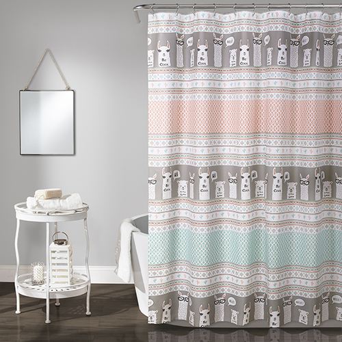 Llama Stripe Pink and Turquoise 72 In. Shower Curtain