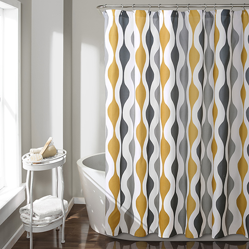 Mid Century Geo Gold and Gray 72 In. Shower Curtain