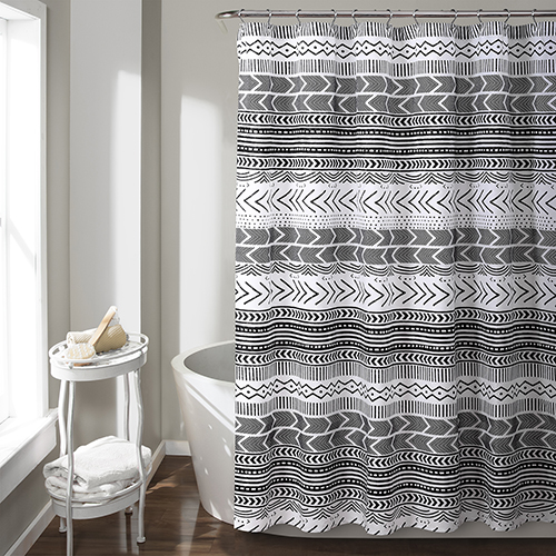 Hygge Geo Black and White 72 In. Shower Curtain