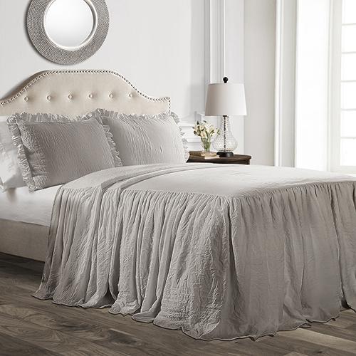 Ruffle Skirt Gray Full Three-Piece Bedspread Set