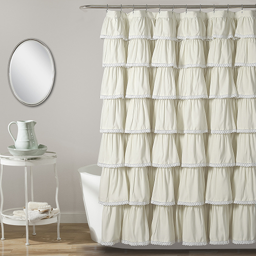 Lace Ruffle Ivory 72 In. Shower Curtain