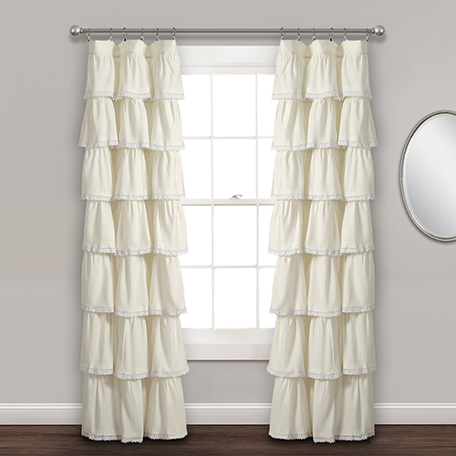 Lace Ruffle Ivory 84 x 52 In. Curtain Single Panel