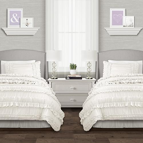 Belle White Twin XL Three-Piece Comforter Set