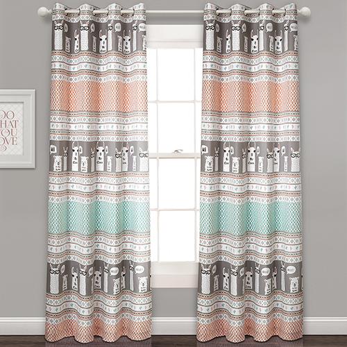 Llama Stripe Pink and Turquoise 84 x 52 In. Room Darkening Curtain Panel Set