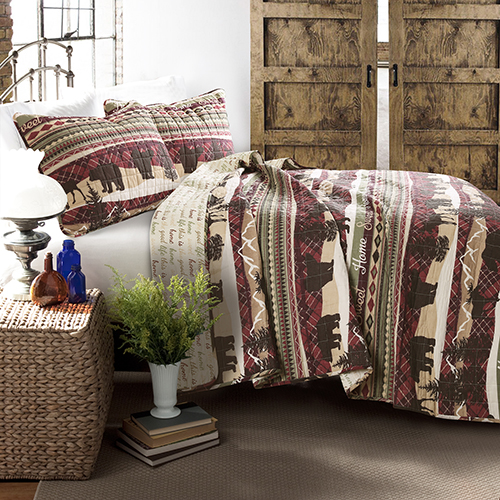 Holiday Lodge Red and Brown Full/Queen Three-Piece Quilt Set