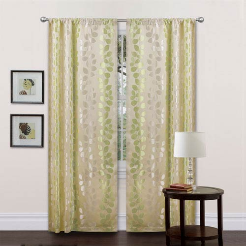Teardrops Curtain Panel Pair Beige and Green 38-Inch by 84-Inch