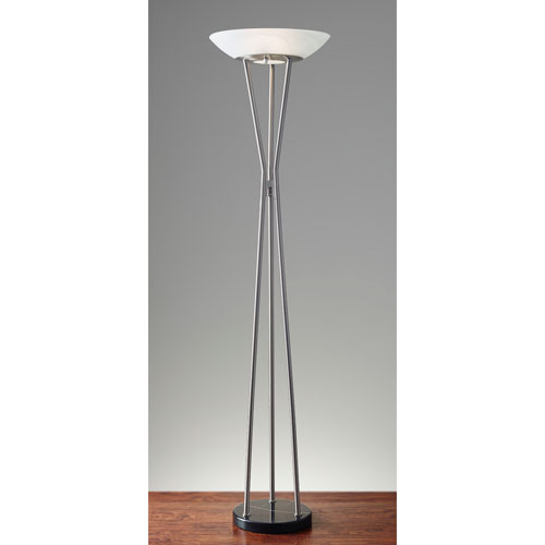 Gemma Brushed Steel Two-Light Torchiere