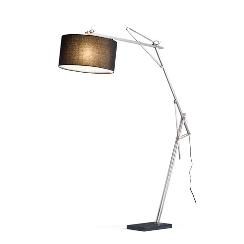Suffolk Brushed Steel One-Light Arc Lamp