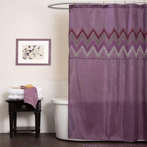 Lush Decor Myra Plum Shower Curtain