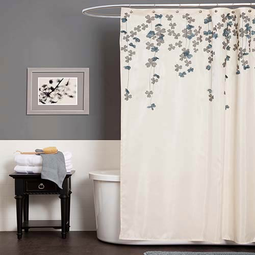 Flower Drops Ivory and Blue Shower Curtain