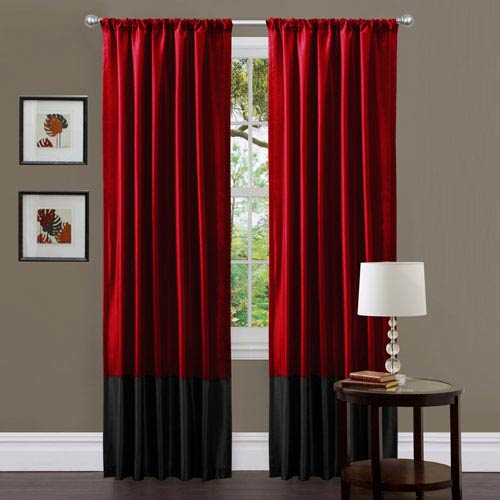 Milione Fiori Red and Black Window Curtain Panel Pair