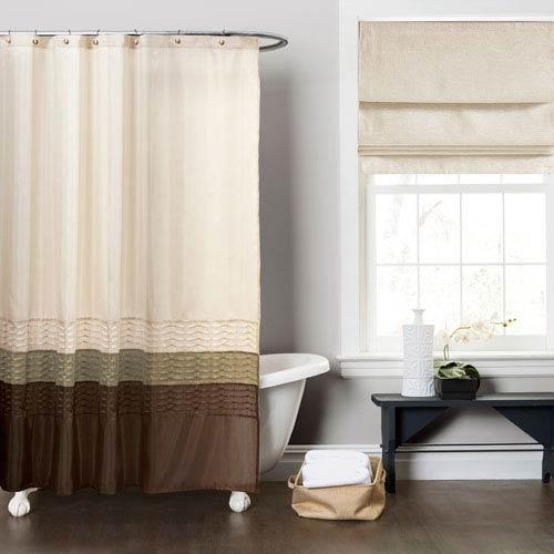 Mia Green/Brown Shower Curtain