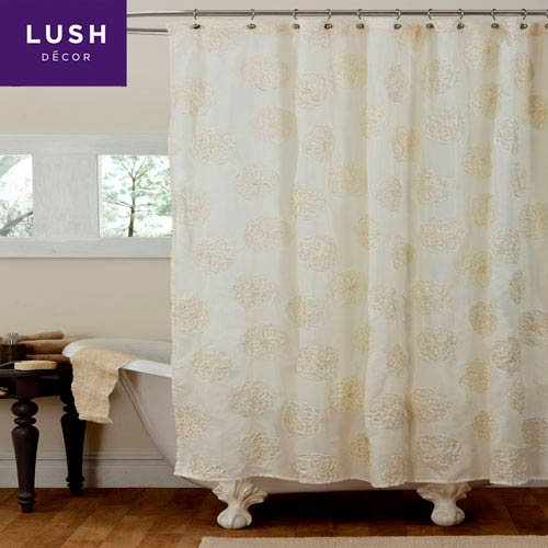 Lush Decor Samantha Ivory Single Shower Curtain 72 X