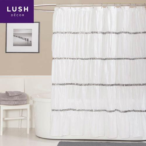 Lush Decor Twinkle White Single Shower Curtain 72 X