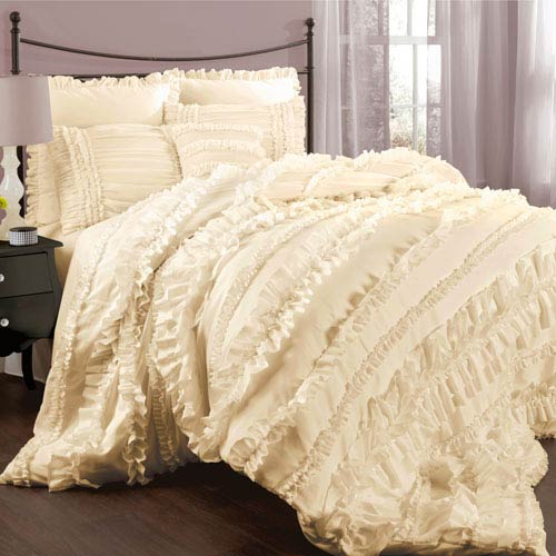 Lush Decor Belle Ivory Queen Size Comforter Sets