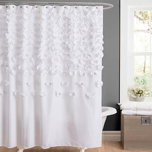 Lucia White Shower Curtain