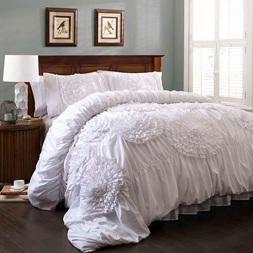 Serena White Three-Piece Queen Comforter Set