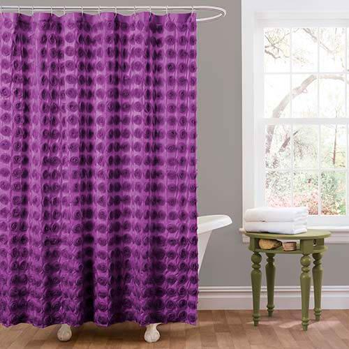 Lush Decor Emma Purple Shower Curtain