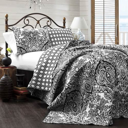 Lush Decor Aubree Charcoal Three-Piece King Quilt Set