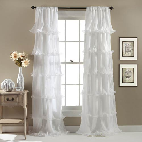 Nerina White 84 x 54-Inch Window Curtain Single Panel