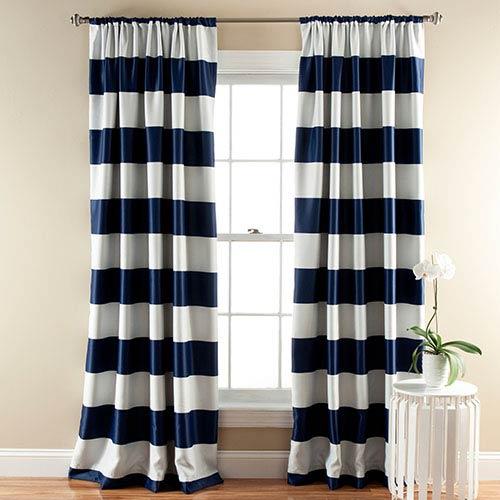 Stripe Navy 84 x 52-Inch Blackout Window Curtain Panel Pair