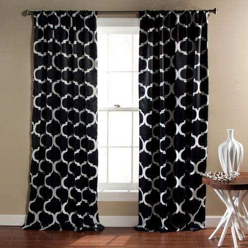 Lush Decor Geo Black 84 x 52-Inch Blackout Curtain Panel Pair