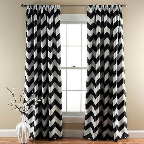 Chevron Black 84 x 52-Inch Blackout Window Curtain Panel Pair